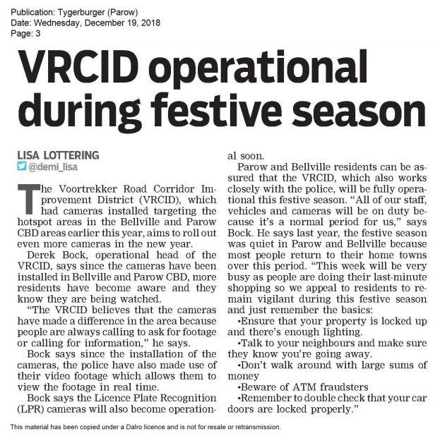VRCID operational during festive season | Voortrekker Road CID